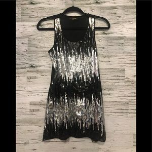 Candy Couture long black and silver sequinned cami